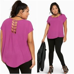 Torrid semi sheer purple top sz 3x